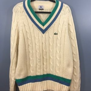 Vintage 80's Izod Lacoste Tennis Club Cableknit  L
